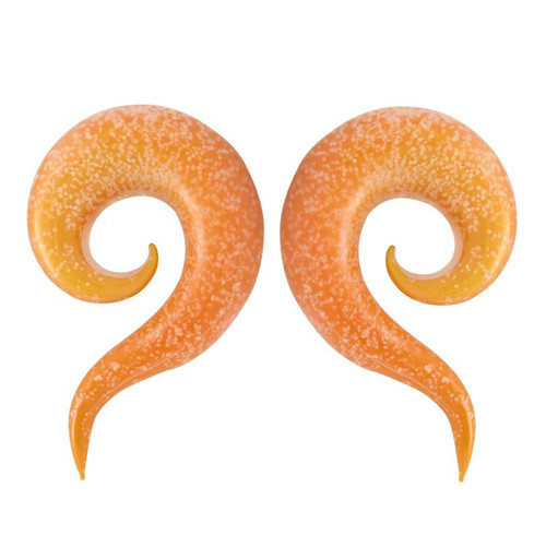 Orange Glass Glow In The Dark Ear Tapers (8 gauge to 5/8inch)