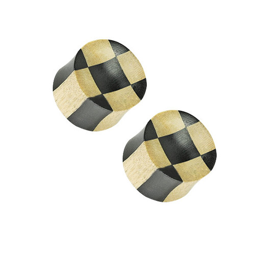 Pair of (10mm up to 25mm) Organic Ebony Areng & Light Crocodile Wood Checker Concave Saddle Plug