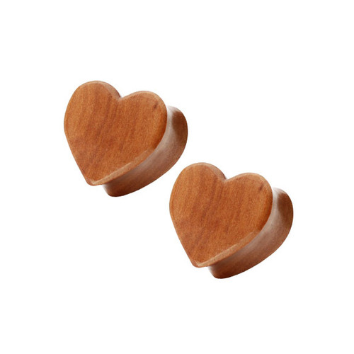 Pair of (10mm up to 25mm) Organic Red Cherry Wood Heart Shape Double Flared Ear Plug