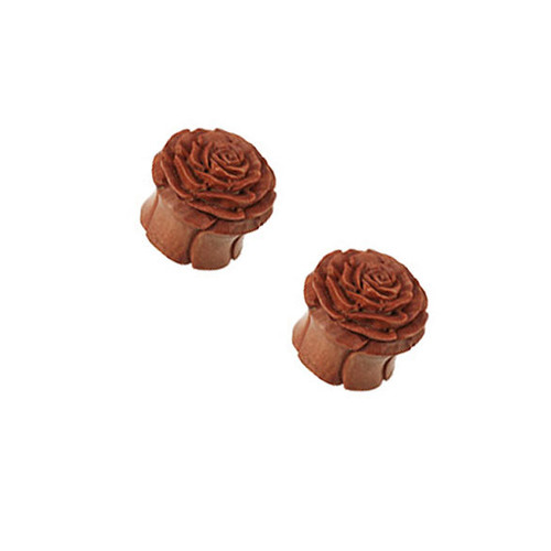 Pair of (8mm up to 25mm) Organic Sawo Wood Rose Handcarved Double Flared Ear Plug