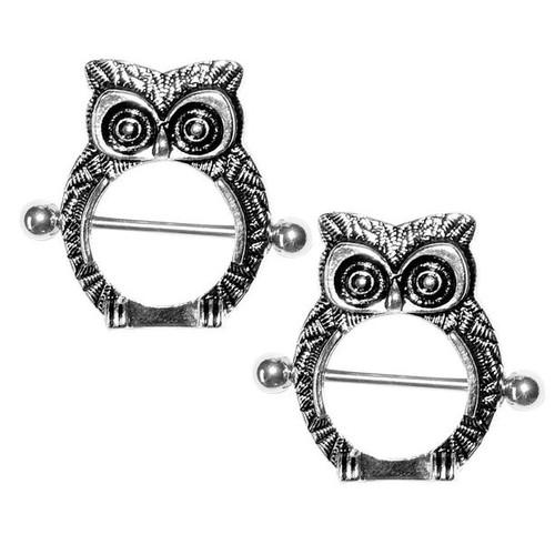 Pair of  14 Gauge Owl Design Nipple Shield