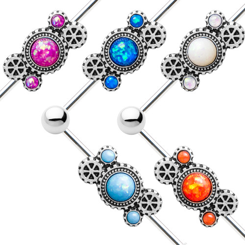 """Steampunk Industrial Barbell with Opal - 14ga-1.5""""(38 mm) Cartilage 316L Surgical Steel"""