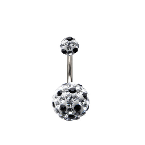 Black/Clear Ferido Ball 14ga Belly Button Ring
