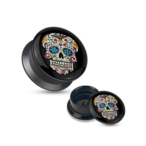 Pair of Blue Sugar Skull Black Acrylic Stash Screw Fit Plugs (4ga-1inch)