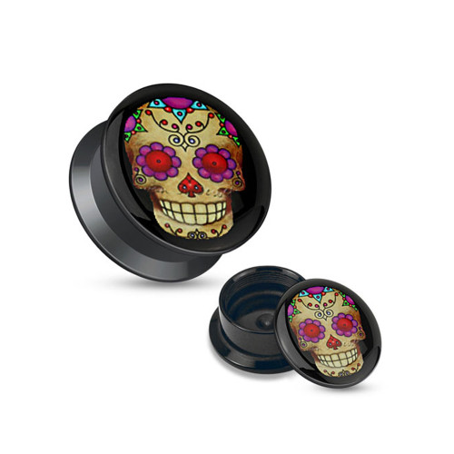 Pair of Violet Sugar Skull Black Acrylic Stash Screw Fit Plugs