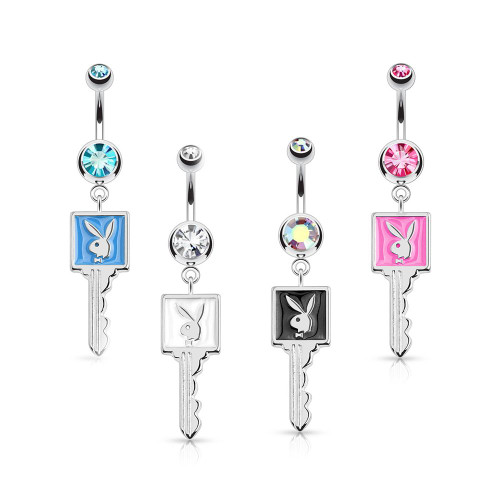 Playboy Bunny Enamel Key and CZ Belly Button Ring 14ga 316L