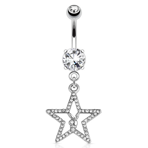 Playboy Bunny with Paved Gemmed Star Dangle 316L Surgical Steel Navel Ring 14g