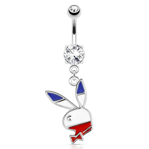 Red, White, Blue Playboy Bunny Dangle 316L Surgical Steel Navel Ring