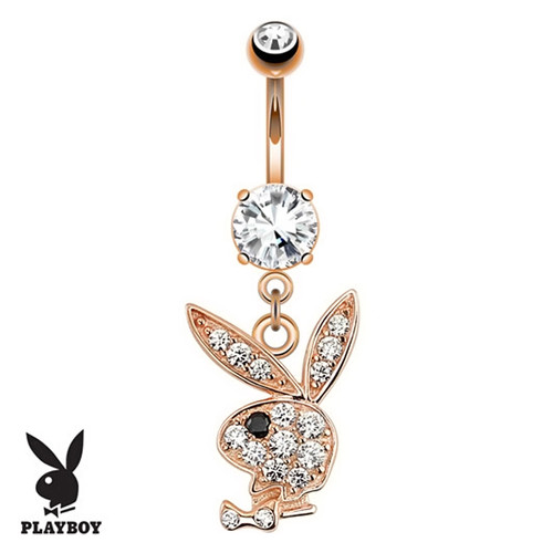 14ga Paved CZ Playboy Bunny Rose Gold Navel Ring