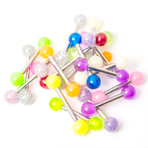 20 Straight Piercing Barbells - Glitter, Acrylic, UV Glow - Assorted Lengths