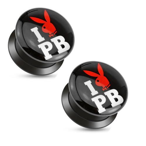 "Pair of  ""I Love Playboy"" Print Black Acrylic Flat Screw Fit Plugs"