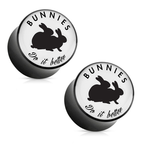 """Bunnies Do It Better"" Playboy Exclusive Pattern Black Acrylic Saddle Plug"
