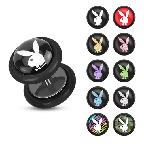 Playboy Bunny Logo Prints Inlay 16ga Black Acrylic Fake Plug with O-Rings- Sold as a Pair