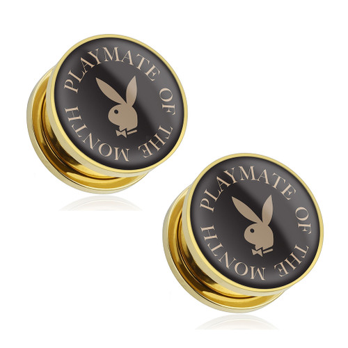 """Pair of """"Playmate of The Month"""" Playboy Bunny Logo Print Gold Plated Screw-Fit Plugs - Out of Stock"""