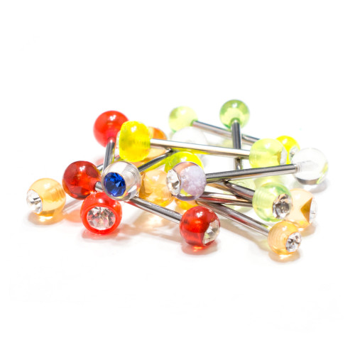 Tongue Nipple 14ga Barbell Combo Acrylic Balls w/ CZ Gems 20 pcs