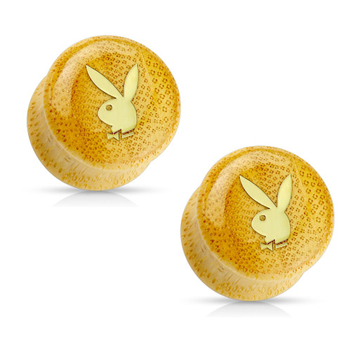 Gold IP Playboy Logo on Organic Bamboo Wood Saddle Plugs Sold in Pairs