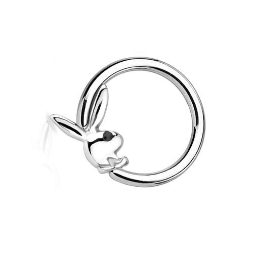 Playboy Bunny Captive Hoop Ring with Black Gem Eye 16ga or 14ga  1/2 ' - 12 mm 316L - Sold Each