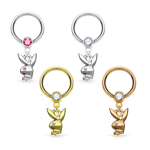 Playboy Bunny Dangle Crystal Set ball Captive 316L surgical Steel Hoop Rings