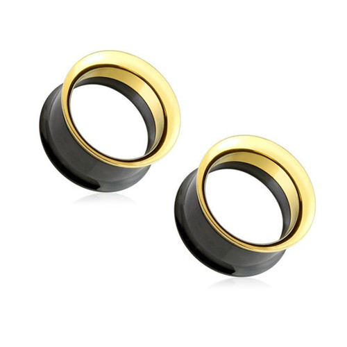 Pair of Black and Gold 316L Surgical Steel Screw Fit Double Flared Tunnel