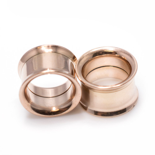 Pair of Rose Gold IP Surgical Steel Double Flared Screw-Fit Tunnel