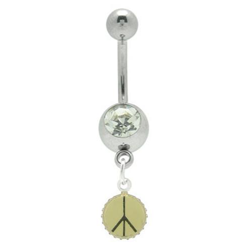 14 gauge Peace Symbol Jeweled Navel Barbell