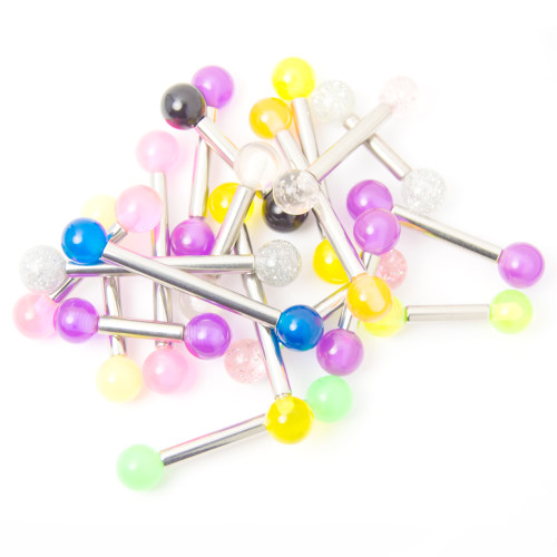 20 Straight Piercing Barbells - Glitter, Acrylic, UV Glow - Assorted Gauges and Lengths