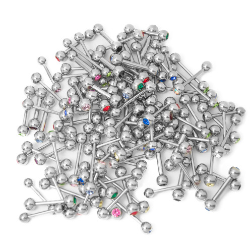 100 Mixed Piercing Barbells - Multi-Color CZ Gems - Mixed Gauges/Lengths