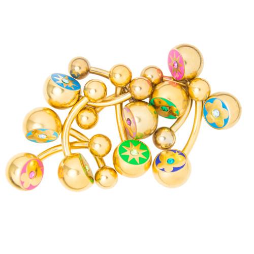 Belly Button Ring 10-Pack - Gold I.P. CZ Gem Flower, Butterfly, Sun Designs
