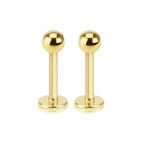Pair of 14ga Gold I.P. Labret Monroe Cartilage Studs 316L Surgical Steel