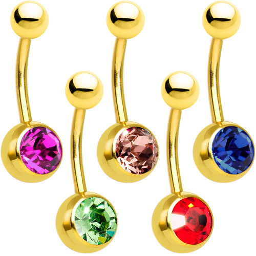 Gold Ion Plated 14ga Belly Button Ring Jewel