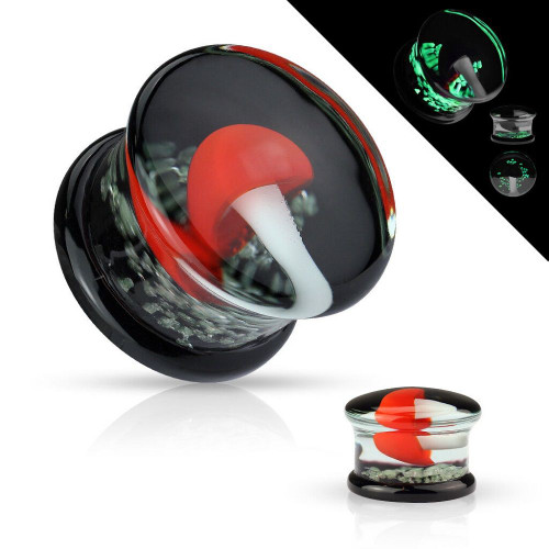 Pair of Pyrex Glass Double Flare Black with Red and White Mushrooms Glow in the Dark - 2ga to 5/8