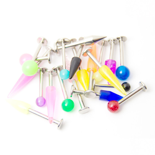 20 Labret/Monroe Piercing Barbells - Glitter, Acrylic, UV Glow - Assorted Lengths