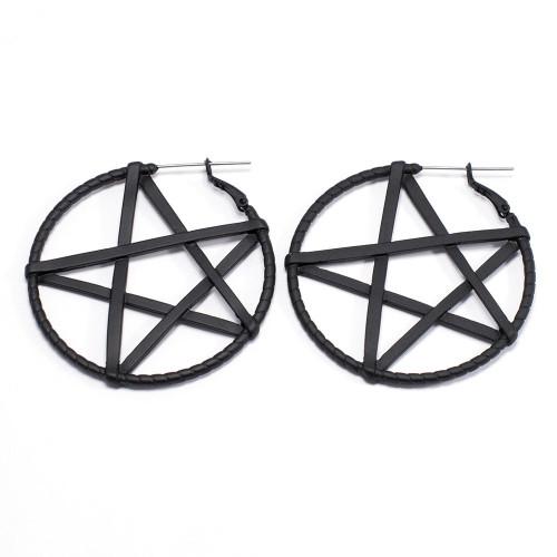 Pair of Black Pentagram Hoop Earrings or Plug Hoops 20ga