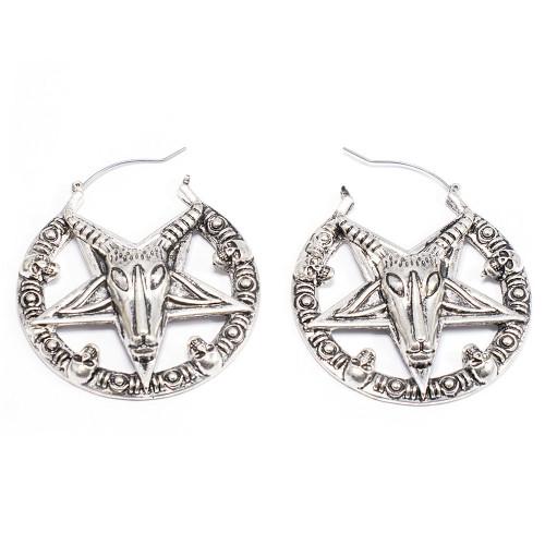 Pair of Pentagram Goat Hoop Earrings or Plugs Hoops Antique Silver Design