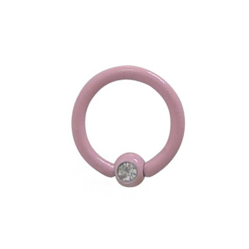 Pink Electro Plated Over Surgical Steel Captive Bead Ring with Jewel