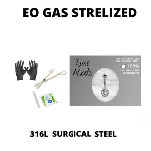 "Piercing Kit Sterilized 316L Surgical Steel Belly Button Ring 14G 7/16"" Forceps Clamps, Needles, Gloves And Jewelry"