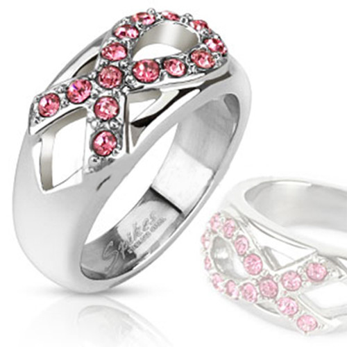 Pink Ribbon Breast Cancer Finger band ring - Out Of Stock