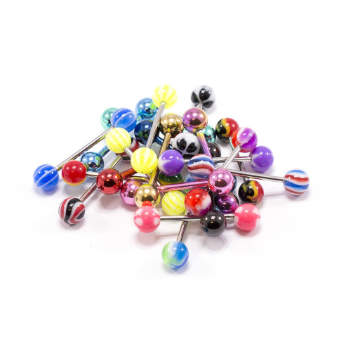 Assorted Tongue Rings straight barbells 14G Surgical Steel 20pcs