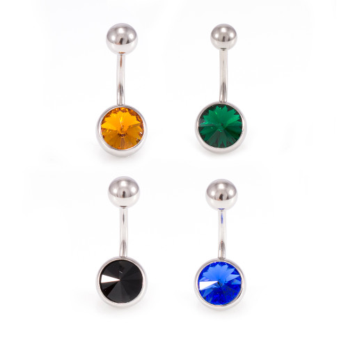 Package of 4 Belly Button Rings Navel Piercing with Cone Design Cz 14g