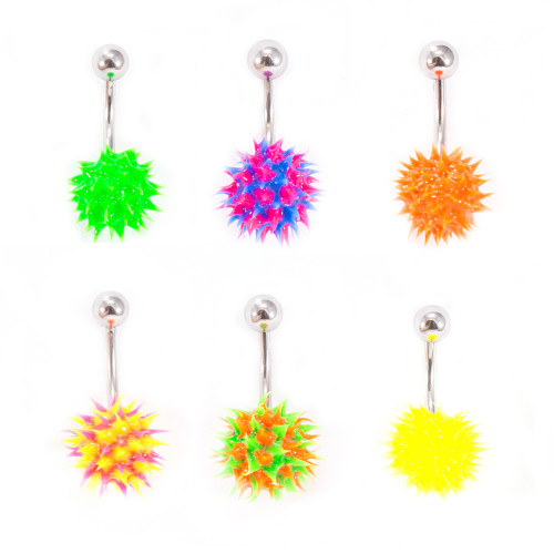 Spike Silicone Ball Belly Button Ring 14ga 3/8'