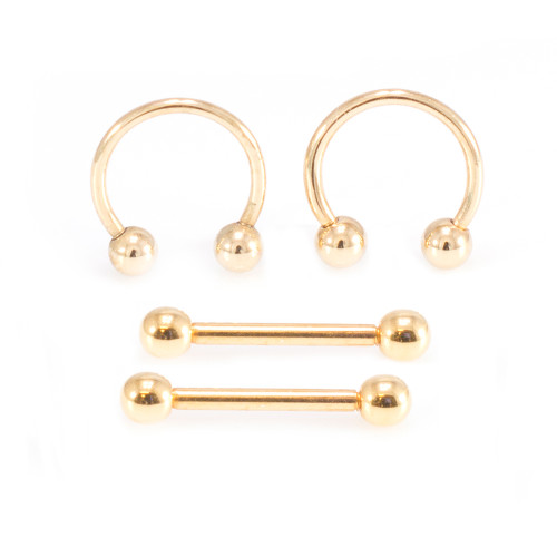 Gold IP Micro Nipple Barbell and Horseshoe Ring Set 16G 10mm