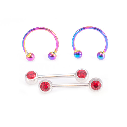 Micro Nipple Barbell with Red CZ and Multi-Color Horseshoe Ring Set 16G 10mm