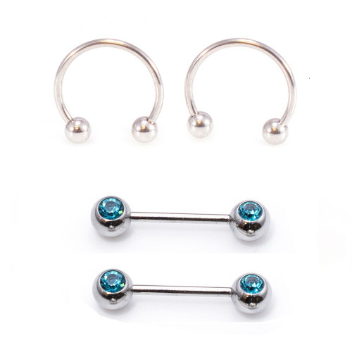 Silver Micro Nipple Barbell with Aqua Cz and Horseshoe Ring Set 16G 10mm