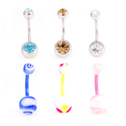 Pack of Surgical Steel Belly Rings with Cz and Flexi Acrylic Belly Rings with Unique Design Vibrant Colors-14g- As Pictured- 6pcs