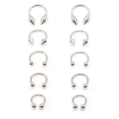 5 Pair 10 Pcs of 316L Stainless Steel Horseshoe 14G Nose Piercing Septum Lip Nipple Eyebrow Rings Hoop Helix Tragus Cartilage Ear Piercings