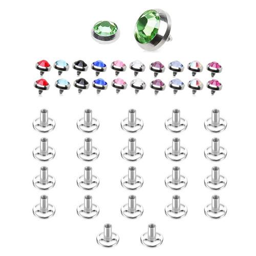 Dermal Piercing Jewelry Multi Press-Fit Gem 22 Tops & 22 Bottoms