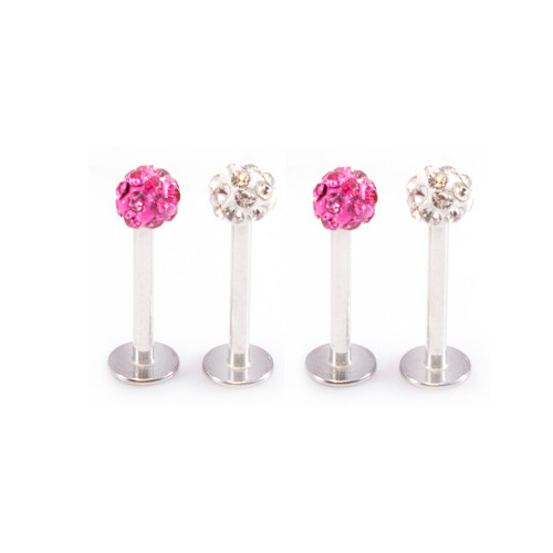 4 pack of Clear Ferido Ball and Pink Ferido Ball Labret Monroe 16g