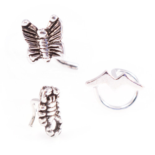Set of Scorpion, Butterfly, and Bat Nose Screw Rings 22g-3pcs