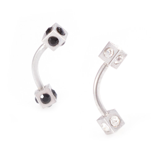 Pair of Box Design Curved Barbells with Black and Clear CZ 16G 15mm