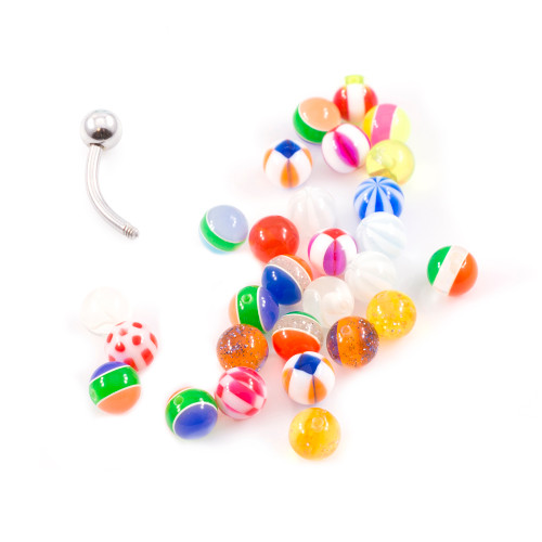 Belly Button Ring Basic Barbell with Randomly Picked Replacement Acrylic Balls